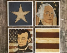 ON SALE Americana Patriotic Coasters, Handmade Primitive Country Decor, Abraham Lincoln, George Washington, USA American Flag, Hot and Cold