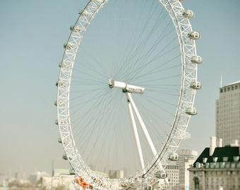 London Photography, London Eye, Europe, Fine Art Print, Travel Photo, Ferris Wheel, Home Decor, Wall Art, blue, beige