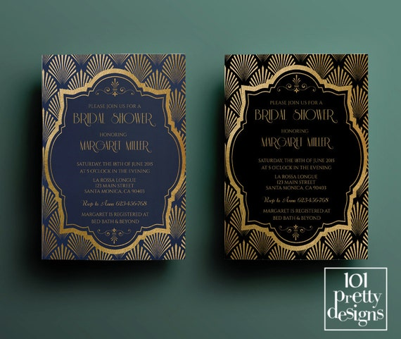 Art deco bridal shower invitation template gatsby bridal shower il570xn filmwisefo