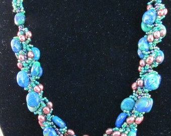 Spiral Cultured Pearl and Azurite Stone Necklace With Earrings