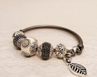 Antique Silver Bead Bangle Bracelet, Antique Silver Bangle