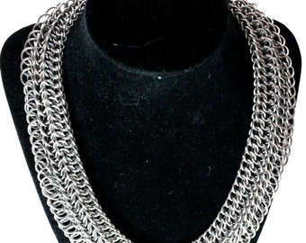 Silver Chainmaille Collar Necklace - Stainless Steel - HP3 Sheet 5 - Chainmail Jewelry