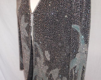 Vintage jacket silk beaded jacket 80s by Collage in Black 100% Silk Floral Beaded Evening Jacket Size large