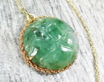 Vintage 14k Jade Necklace Vintage Natural Jade Necklace Genuine Jade Pendant 14k Gold Drop Necklace Green Stone Necklace Floral Carved Jade