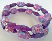 Paper bead Jewelry set Paper bead Bracelet and earrings Purple bracelet double wrap bracelet paper bead earrings Purple paper beads