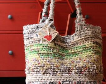 Borsa artigianale di cotone fatta a mano, grigia, tecnica uncinetto, 55x35x25 cm, handmade bag, cotton, crochet hook