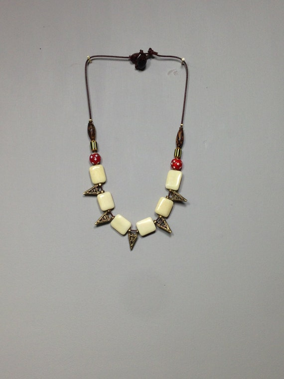 Necklace Cord African Beads Indonesian Brass Bone Wood Handmade Jewelry Cord Necklace Women Men Tribal Unique