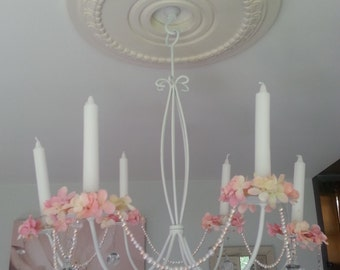 Shabby Chic, Elegant, White, Wrought Iron, Flowered, Faux Pearl Candelabra Chandelier