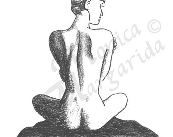 Woman Pencil Illustration, Spa Wall Art, Nude Art Print, Nude Woman Art, Fine Art Drawing, Figurative Poster, Female Pose, Health Art