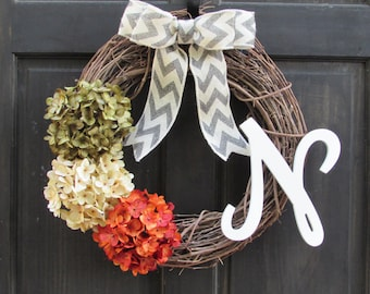 Fall Monogram Wreath, Fall Front Door Wreath with Initial, Monogram Door Hanger, Fall Initial Wreath, Letter Door Hanger, Irish Wreath