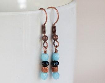 Copper Teal bead Earrings dangle boho wire wrap handmade