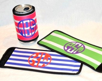 Monogrammed Wrap Can Holder - Personalized Can Holder - Monogrammed Can Hugger