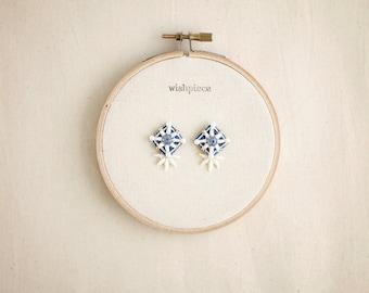 LIGHTWEIGHT earrings / statement stud earrings / demin jewelry / hypoallergenic earrings / wishpiece