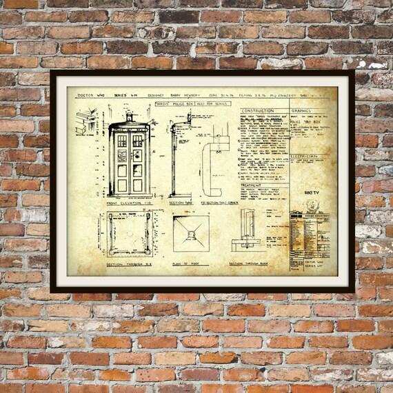 Tardis print poster dr who blueprint the tardis blueprint like this item malvernweather Choice Image
