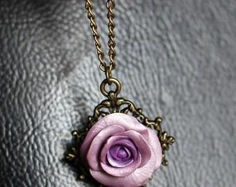 Violet rose pendant, Pink rose necklace, Violet necklace, Rose jewelry, Flower necklace, Bronze cabochon necklace, Botanical necklace gift