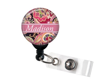 Personalized Mauve Paisley, Retractable ID Badge Reel (D_110)