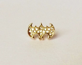Gold Batman Cartilage/Tragus,Helix,Conch,Ear Piercing 16 Gauge (EPC-49),316L Surgical Steel,Sold by Piece, Single Earring