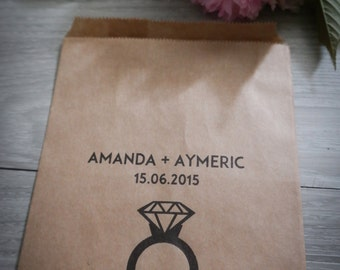 5 pouches kraft custom wedding - given names + date