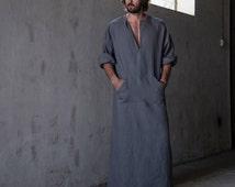 """Men's stylish 100% linen homewear. Fashionable """"lead grey"""" kaftan. Men's kaftan"""