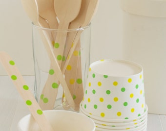 Green and Yellow Dot Ice Cream Cups- Set of 10 Ice Cream Cups