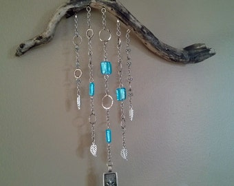 Driftwood Wall Art: Owl Blue Glass and Silver