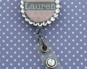 Handmade Rhinestoned Badge Reel