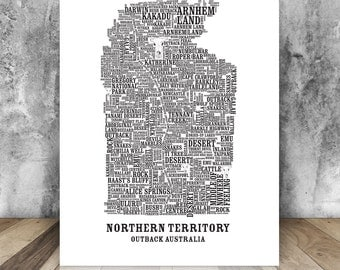 Northern Territory Outback Australia - Typographic Print