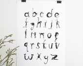 Black and White Cat Alphabet PRINT