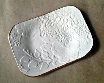 Ceramic Lace Jewelry Dish Soap dish jewelry holder Off White  gold edged