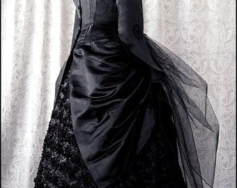 Silk Brocade Black Midnight Bustle Jacket by Kambriel - Gothic Bats - Designer Sample - Brand New & Ready to Ship!