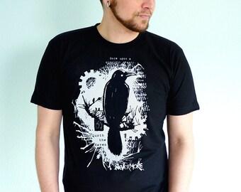 Nevermore Raven T-shirt - Edgar Allan Poe Shirt - Mens Tshirt - Poe Tshirt - English Teacher Gift - Literary Book Lovers Gift
