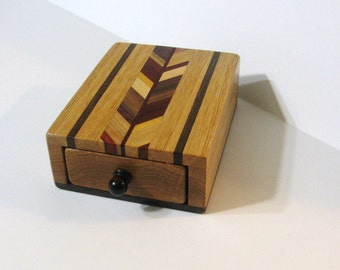 Puzzle Box Made Of Six Woods With Locking Drawer