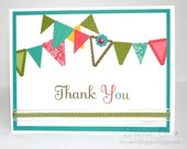 Handmade Thank You Card - Bright and Cheery Pennant Thank You Card - Thank You Note Card - Appreciation Cards - Gratitude Cards