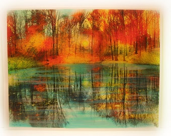 Art, Autumn, End of the day,16x20 inches, photography, nature, autumn trees, Cabin decor, Michigan art, Fall, #Autumn wedding