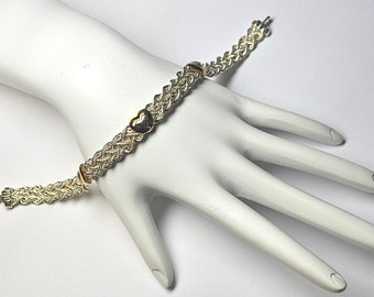 ON SALE Vintage Peruvian 925 Silver & 14K Woven Hearts Bracelet, Silver and Gold Woven Chain Bracelet, Heart Bracelet, Heart This!  #A903