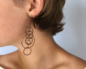 Vintage Clip on Dangle Earrings - Copper and Rhinestone