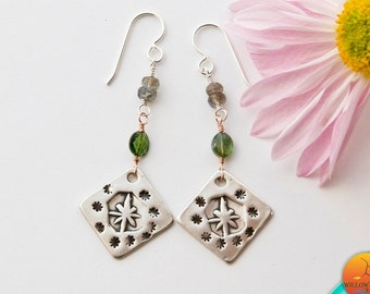 Unique Women's Dangle, Silver Northstar Earrings, Handmade in PMC fine silver on Sterling Silver Wires, Star Guide,  Clock of the Yaqui's