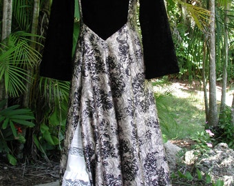Renaissance Dress, Black Velvet Dress, Once Upon a Time, An Original, Long Dress size 11, Steampunk Gown, Wild West Dress,Gypsy Costume Gown