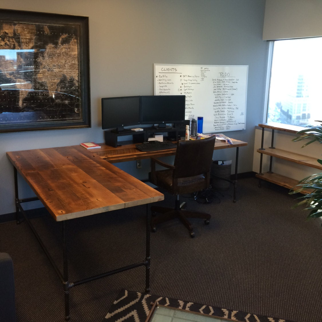 Superb img of Custom Desk L shaped made of reclaimed wood and by UrbanWoodGoods with #6F4128 color and 1125x1125 pixels