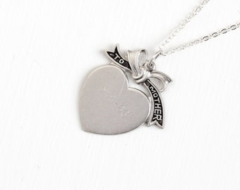 """Sale - Vintage Sterling Silver """"To Mother"""" 1966 Heart Pendant Necklace - Mid Century 1960s Dated 5-8-66 Mom Love Gift Bow Jewelry"""