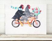 Bicycle Chicken Art Giclee Canvas Print Beach Decor Kids Room Beach Baby Nursery Beach House Hens Chicken Decor Mangoseed Art Christina Rowe