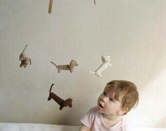 baby mobile / DACHSHUND mobile / dog mobile / puppy mobile / knit animals mobile
