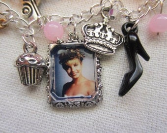 The Pink Room charm bracelet, inspired by Twin Peaks. Laura portrait, muffin, lipstick, beer bottle, bra, microphone, crown & more charms