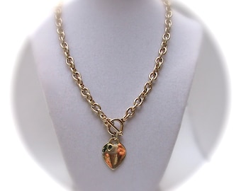 Vintage Toggle HEART CHARM Chunky Gold Tone Chain NECKLACE
