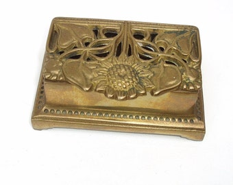 Vintage Brass Box, Postage Stamp Holder, Metal Hinged Box, Stamp Dispenser, Desk Accessory