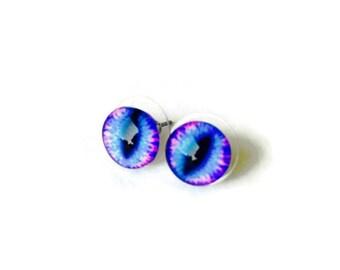 Dragon Eye Stud Earrings, blue or green