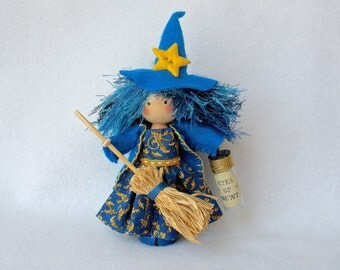 Witch Art Doll, Clothespin Doll, HalloweenGhost Peg Doll, Blue and Gold Witch, Halloween Decor, Pegtales Eye Of Newt
