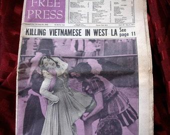 L. A. Free Press 1971 Vietnam Timothy Leary Mark Almond Cinco Concert Neon Park Otis Politics Psyche Los Angeles