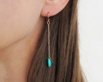 Gold earrings, blue turquoise with gold chain earrings, blue earrings, gold dangle earrings, gold chain earrings