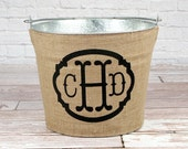 20% OFF! Triple Monogram Burlap Galvanized Bucket